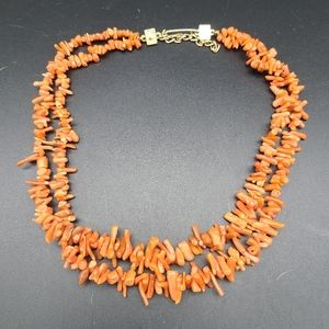 VTG Salmon Branch Coral Double String Necklace